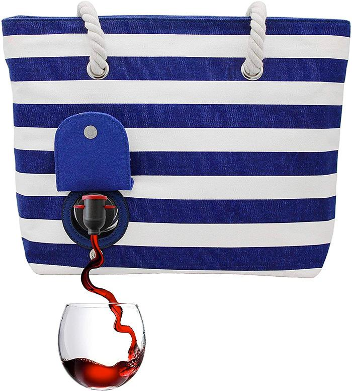 Beach Wine Tote Bag