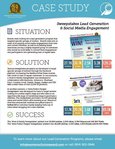 Sweepstakes Lead Generation & Social Media Engagement